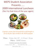 meps student association presents 2009 international luncheon yes its that time of the year again2