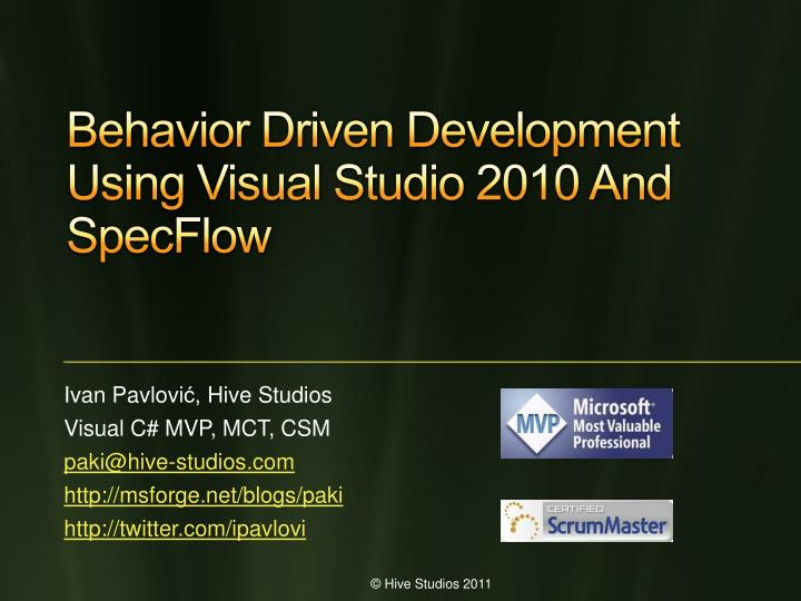 behavior driven development using visual studio 2010 and specflow n.