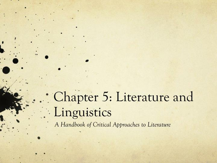 chapter 5 literature and linguistics n.