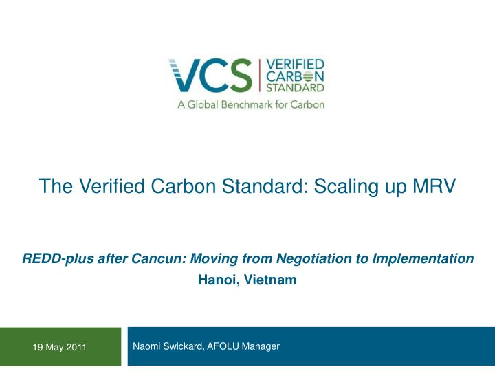 the verified carbon standard scaling up mrv n.