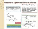 fracciones algebraicas valor num rico