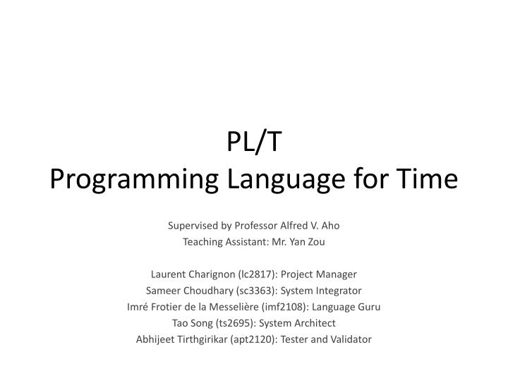 pl t programming language for time n.