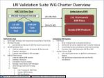 lri validation suite wg charter overview