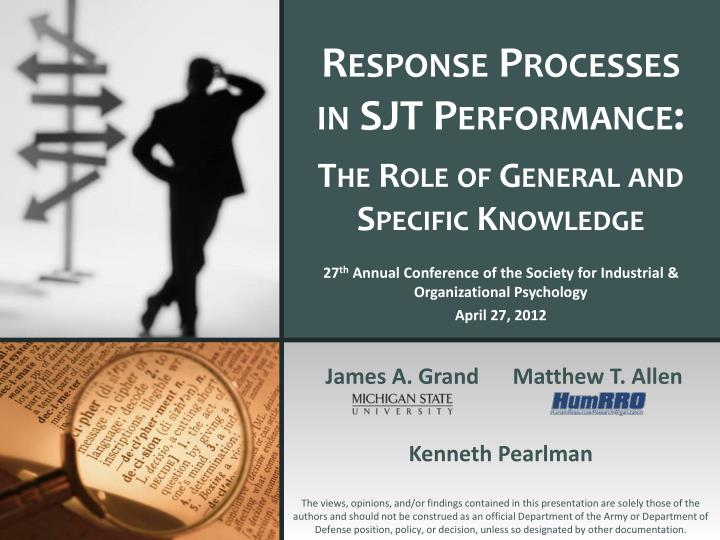 response processes in sjt performance the role of general and specific knowledge n.