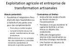 exploitation agricole et entreprise de transformation artisanales