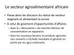 le secteur agroalimentaire africain
