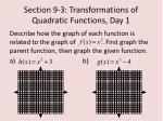 section 9 3 transformations of quadratic functions day 12