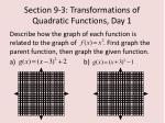 section 9 3 transformations of quadratic functions day 15