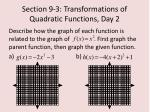 section 9 3 transformations of quadratic functions day 23