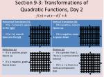 section 9 3 transformations of quadratic functions day 26