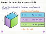 formula for the surface area of a cuboid