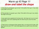 warm up 3 page 11 draw and label the shape