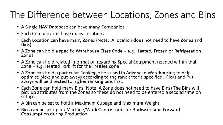 the difference between locations zones and bins n.