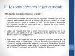 iii les consid rations de justice sociale1