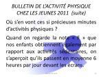 bulletin de l activit physique chez les jeunes 2011 suite