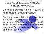 bulletin de l activit physique chez les jeunes 2011