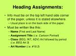 heading assignments