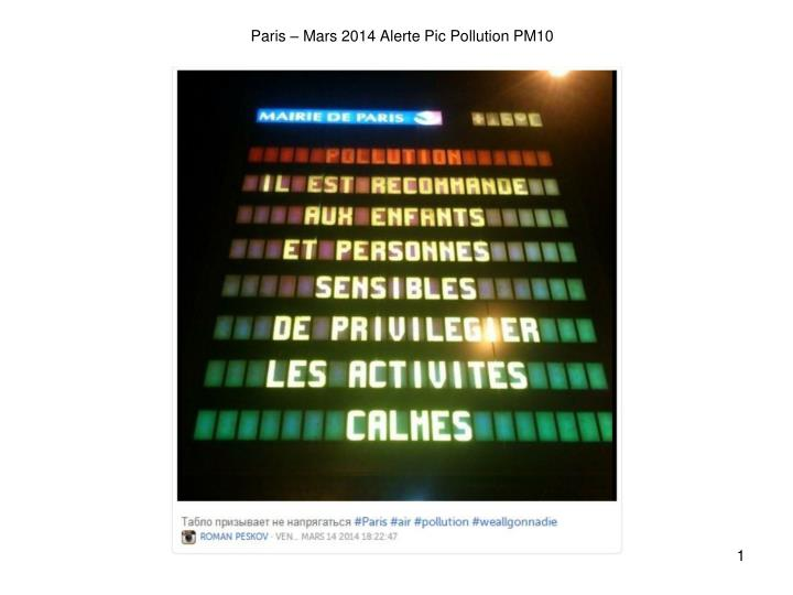 paris mars 2014 alerte pic pollution pm10