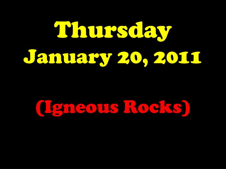 thursday january 20 2011 n.