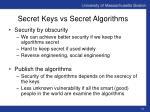 secret keys vs secret algorithms