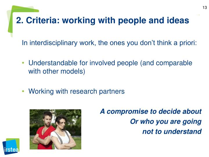 2. Criteria: working with people and ideas