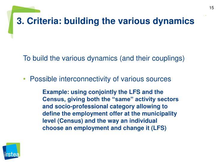3. Criteria: building the various dynamics