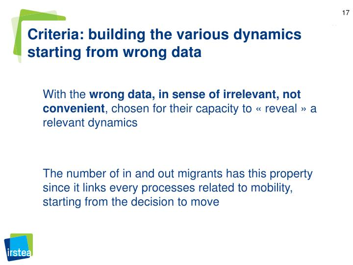 Criteria: building the various