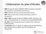 l laboration du plan d tudes