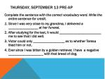 thursday september 13 pre ap