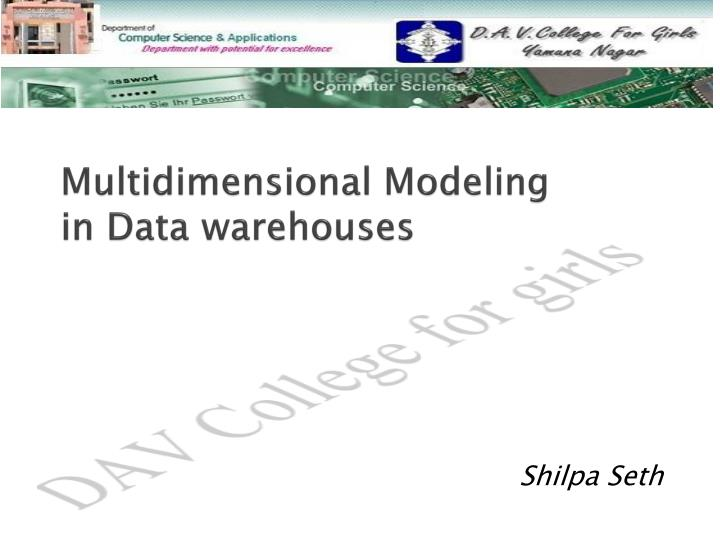 multidimensional modeling in data warehouses n.