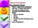 room procedures
