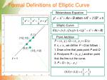 formal definitions of elliptic curve