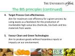 the bis principles continued