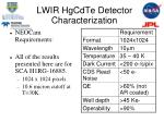 lwir hgcdte detector characterization