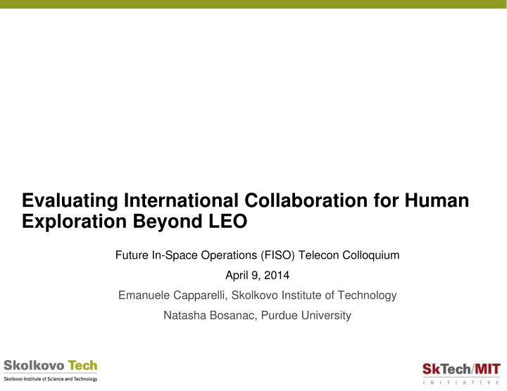 evaluating international collaboration for human exploration beyond leo n.