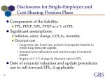 disclosures for single employer and cost sharing pension plans