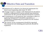 effective date and transition