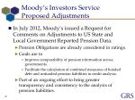 moody s investors service proposed adjustments