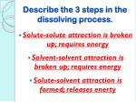 describe the 3 steps in the dissolving process