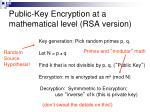 public key encryption at a mathematical level rsa version