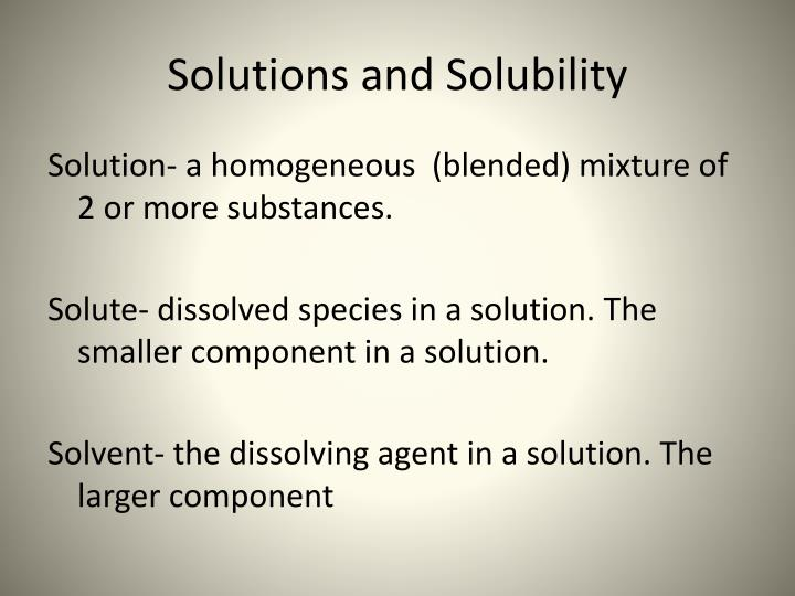 solutions and solubility n.