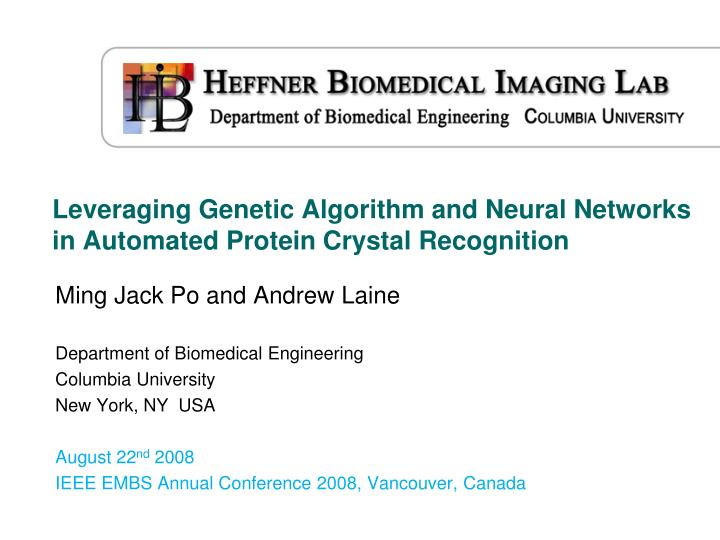 leveraging genetic algorithm and neural networks in automated protein crystal recognition n.