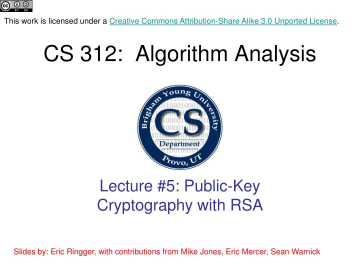cs 312 algorithm analysis n.