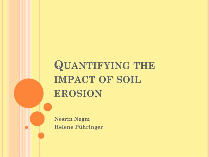 quantifying the impact of soil erosion n.