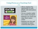 using pixton as a teaching tool