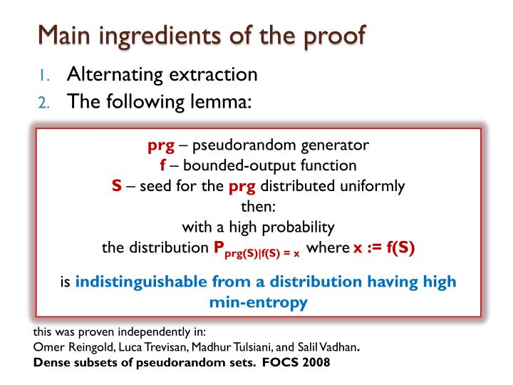 Main ingredients of the proof