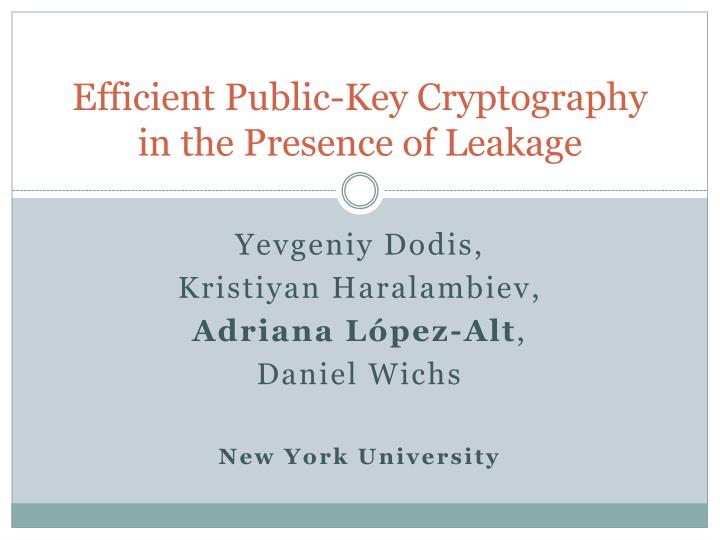 efficient public key cryptography in the presence of leakage n.