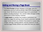 adding and moving a page break
