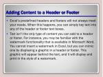 adding content to a header or footer
