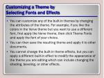 customizing a theme by selecting fonts and effects1